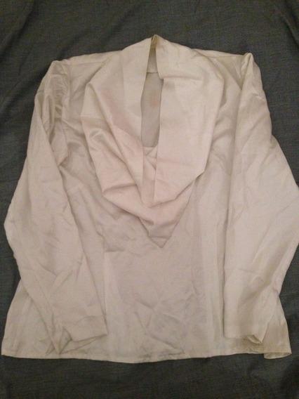 Remera De Seda Con Escote Caida Blanco Perla Para Mujer