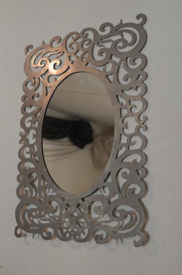 Espejo De Diseño En Metal 1,6x80cm