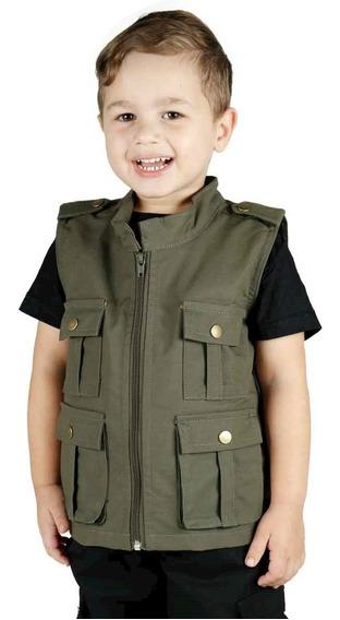 Colete Infantil Army Camuflado Verde