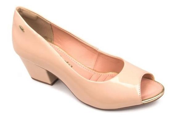 Sapato Feminino Peeptoe Dakota Pele/preto - B8491