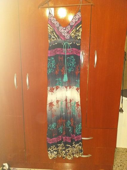 Vestido Largo Boho De Fibrana Impecable!
