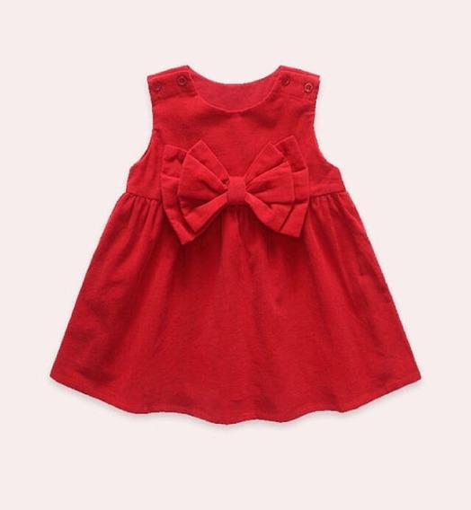 Vestido Infantil Para Bebê Em Tricoline Com Laço Duplo