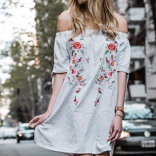 Vestido Rimmel Mujer Corto Verano Bordado Rosas Sin Hombros
