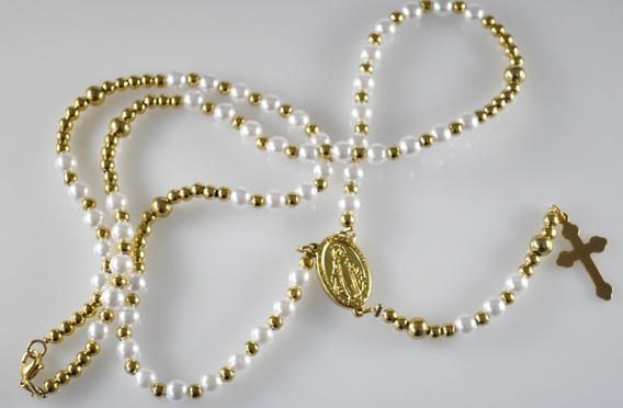 Rosario Acero Dorado & Perlas Virgen Milagrosa 6mm