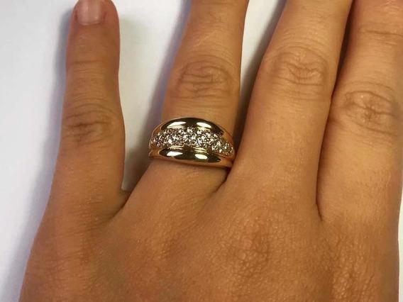 Anel De Ouro 14k Cravejado Com Diamantes