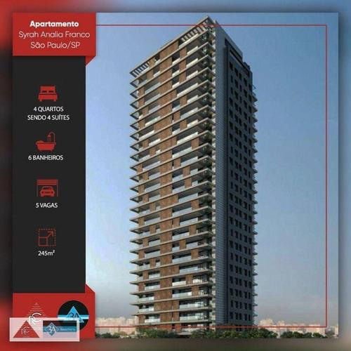 Imagem 1 de 30 de Apartamento Com 4 Dormitórios À Venda, 245 M² Por R$ 3.900.000,00 - Jardim Anália Franco - São Paulo/sp - Ap6328
