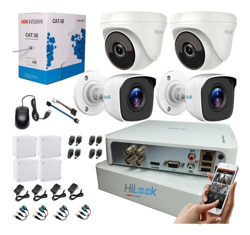 Imagen 1 de 9 de Kit Hikvision Hilook Dvr 1080 4 Ch + 4 Cámaras Seguridad