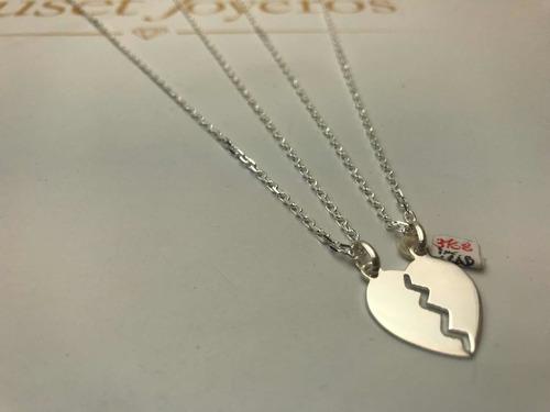 Corazón Para Parejas Con Dos Cadenas, Plata 925. Tuset.