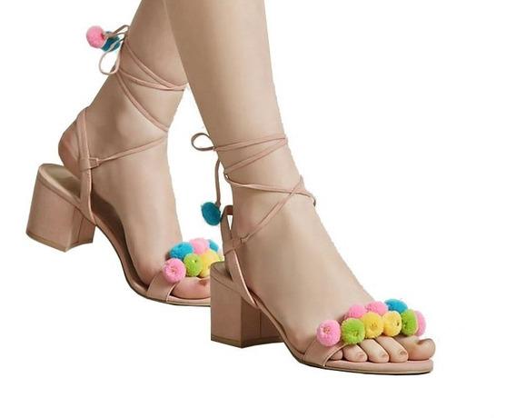 Zapato Sandalia Forever21 Pompones Talle 38 Arg 8 Usa