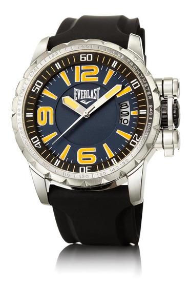 Relógio Pulso Everlast Masculino Aço Silicone Preto E39730