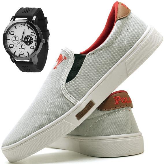 Tenis Masculino Sapato Sapatilha Polo Joy Iate + Relógio