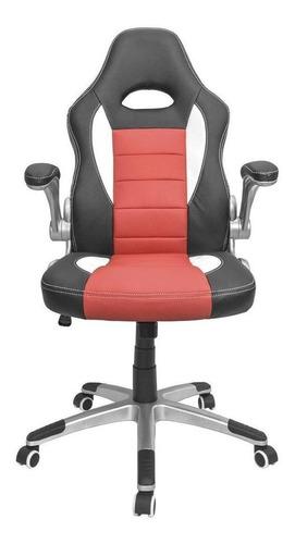 Imagen 1 de 4 de Silla de escritorio Top Living SILL7 gamer ergonómica  negra, roja y blanca con tapizado de cuero sintético