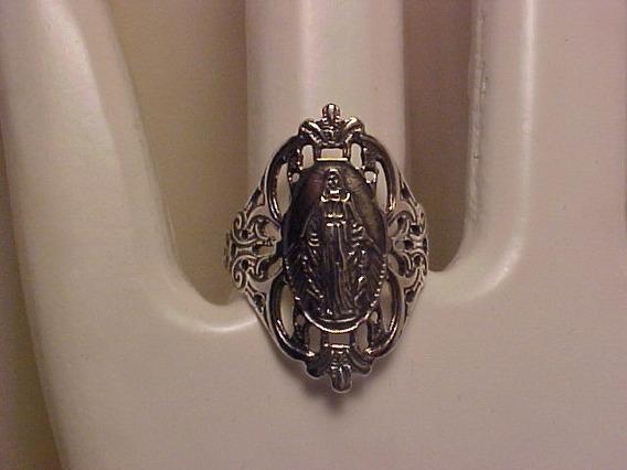 #ap273581n - Anel Virgem Maria Em Prata 925 Vazado Oval