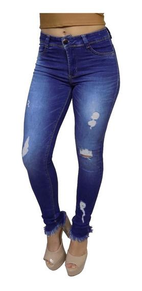 Calça Jeans Feminina Sawary Cintura Alta Rasgada + Brinde 19