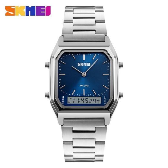Relógio Masculino Skmei 3atm Anadigi Aço Inox 1220 - Azul
