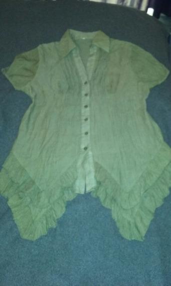 Camisa De Bambula Verde Musgo Con Bolados
