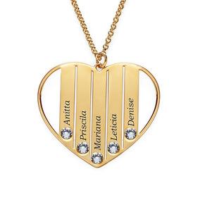 Colar Personalizado Coração C Zircônia Banhado Ouro 18k