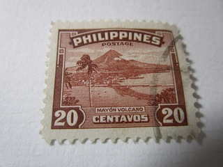 Philippines 20c Mayon Volcan Postage Estampilla L32