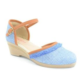 Sandália Anabela Pink Cats Azul Ocre/azul Celeste - W9373
