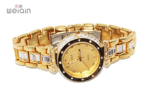 Imagen 1 de 8 de Reloj Weiqin Original L'infini Grnt Dorado Cristales Zirconia Dama Movimiento Japones R49