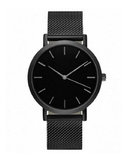 Reloj Hombre Elegante Negro Gris Malla Acero Inoxidable