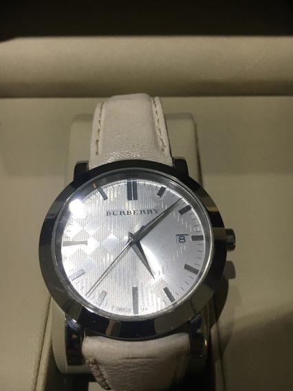 Relógio Burberry Branco Original De Couro