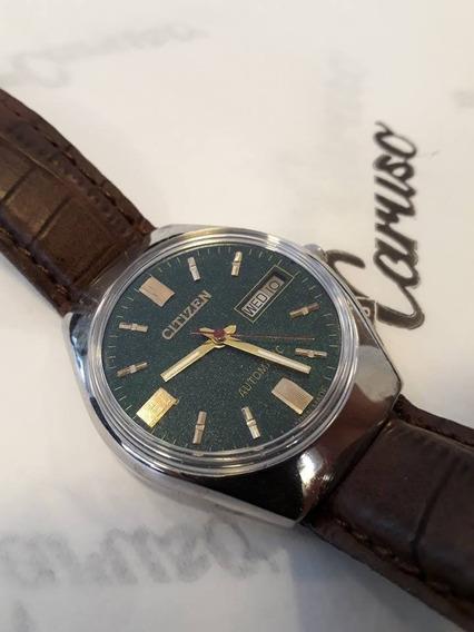 Relógio Citizen Automático 21 Jewels Anos 80 Fundo Verde