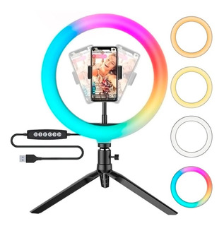 Aro Luz Led Rgb Color Anillo Ring Youtube Tiktok 26cm Soport