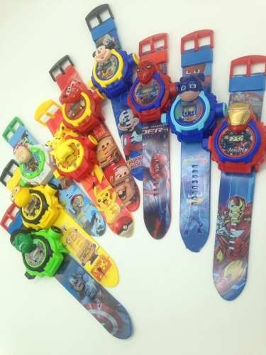 Kit 23 Relógios Infantil Desenhos Projetor De Luz 24 Imagens