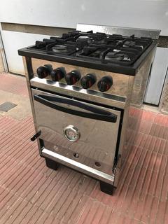 Cocina Industrial Familiar 4 Hornallas 58cm. Acero Inox.