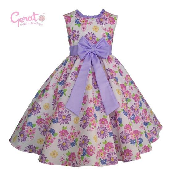 Vestido De Niña Con Estampado De Flores Color Lila