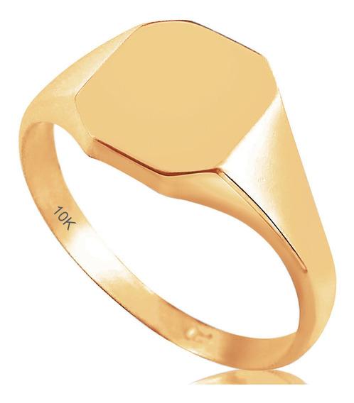 Anel Em Ouro Amarelo 10k Masculino - Exclusivo
