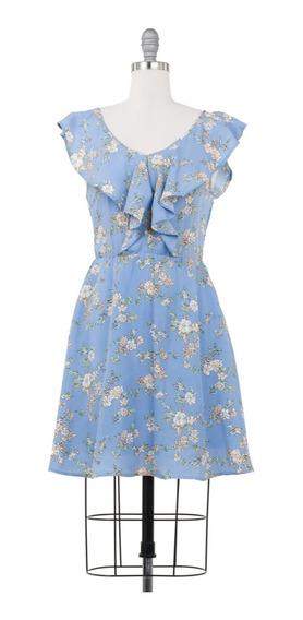 Vestido Corto Floral Azul, Con Holanes En Escote, Casual.