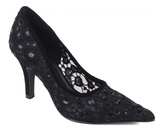 Sapato Feminino Scarpin Preto Para Festas Trabalho Casual