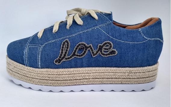 Tênis Flatform Jeans Love