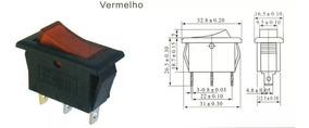 10 Peças - Chave Gangorra Kcd2-102n 3t 15a/250v Vermelha