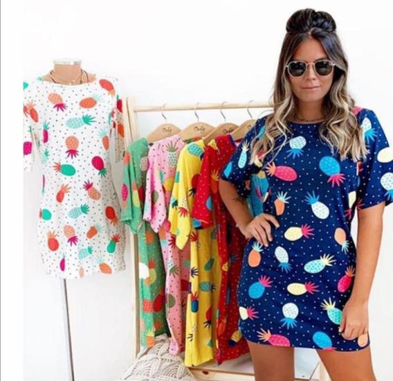 Camisão Blusão Vestido Abacaxi Feminino Roupas Fim De Ano