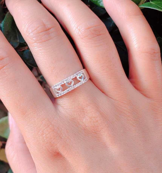 Anel De Três Corações Prata Com Pedra Cor Cristal
