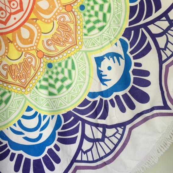 Canga Redonda Atoalhada Estampada Mandala Colorida Promoção