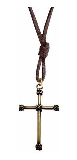 Colar Cordão Couro Cruz Crucifixo Masculino Feminino