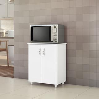 Balcão Armário Multiuso Cozinha 2 Portas C/ Pés Branco New