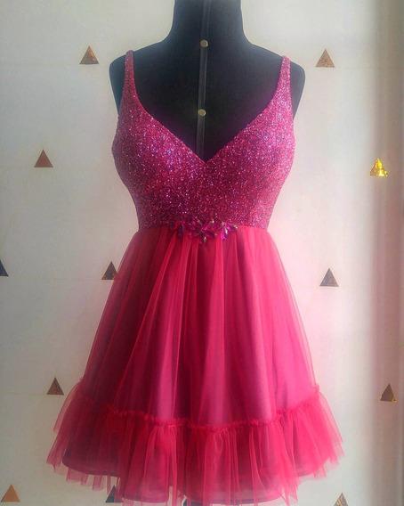 Vestido Pink Glitter Festa Formatura/debutante. Teen