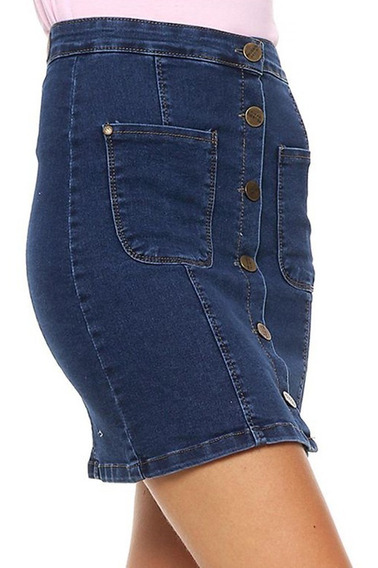 Falda Jeans Abotonada Mujer Claudette - Prussia