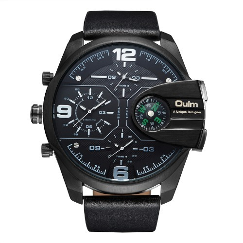 Relógio Masculino Importado Oulm Preto Couro 2 Maquinas