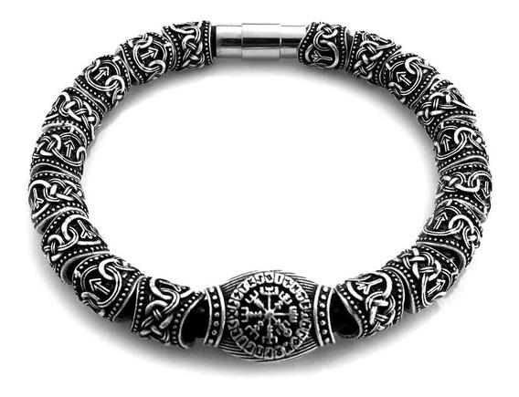 Bracelete Masculino Viking Runas Pulseira Tribal Vikings