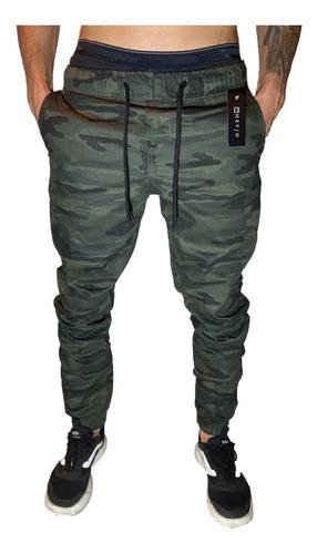 Imagem 1 de 7 de Calças Jeans Camuflada Masculina Jogger Com Punho Elastico
