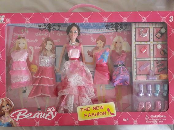 Muñeca Barbie Fashion Cambio De Vestidos Accesorios Juguete