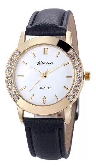 Relógio Geneva Feminino Pulseira De Couro,a Pronta Entrega.