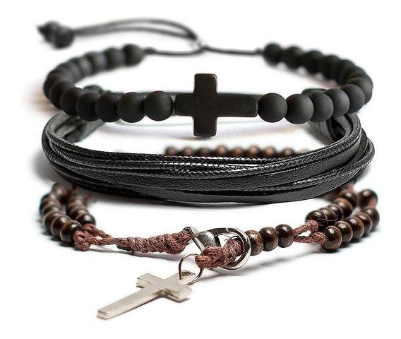 Kit 3 Pulseiras Masculina Fem Terço Crucifixo Fosco Madeira