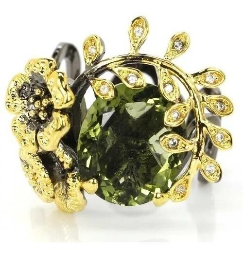 Anel Feminino Prata Ouro Negro Pedra Natural Aro 18 19 20 21